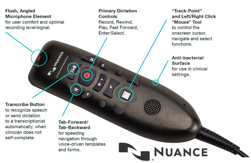 Nuance Powermic III 3 Speech Recognition Microphone for Dragon and  Powerscribe